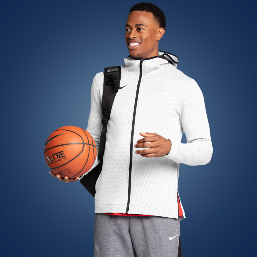 beb5f544b4a Men's Basketball Long Sleeve Warm-Up Shirt with Just Never Stop Nike Graphic